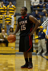 Jan 14, 2012; Berkeley CA, USA;  Utah Utes guard Josh Watkins (15) dribbles the ball against the California Golden Bears during the first half at Haas Pavilion.  Mandatory Credit: Jason O. Watson-US PRESSWIRE