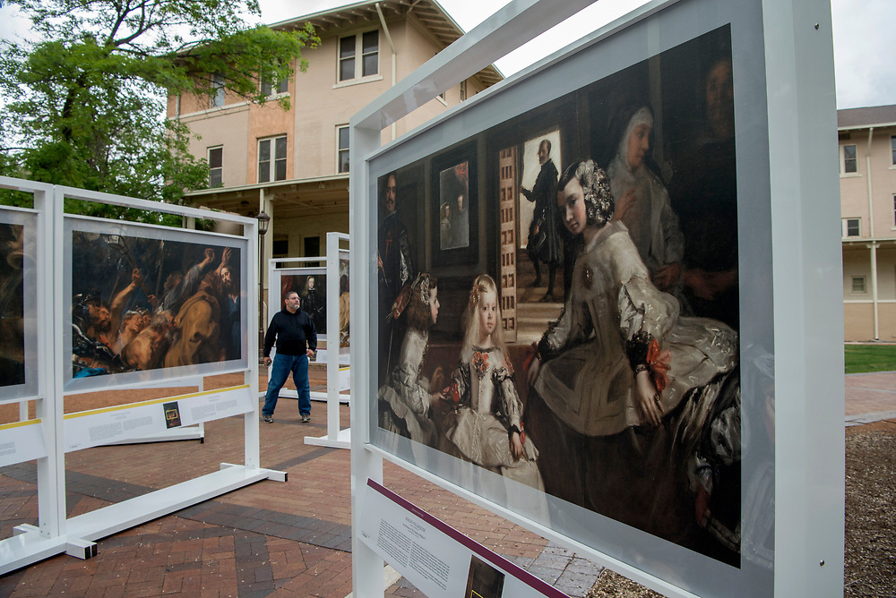 em051017c/jnorth/This painting by Diego Velazquez, titled Las Meninas or The Family of Philip IV, is part of The PRADO in Santa Fe exhibit in Cathedral Park Santa Fe, Wednesday May 10, 2017.  (Eddie Moore/Albuquerque Journal