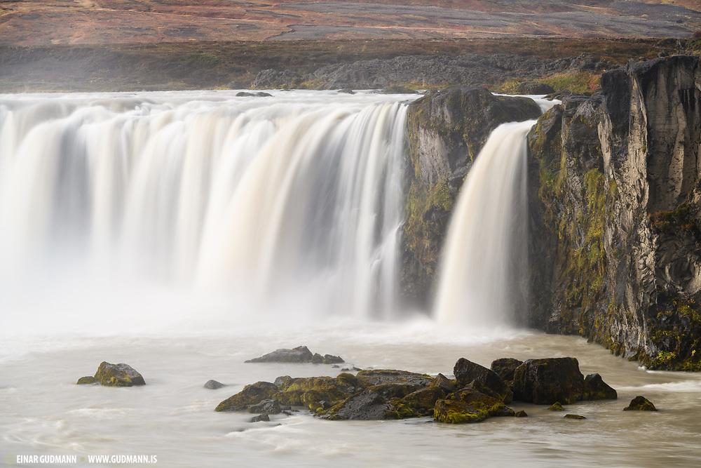 Goðafoss is in the Skjálfandafljót river in the Bárðardalur area.