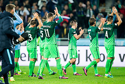 Bojan Jokic of Slovenia, Milivoje Novakovic of Slovenia, Benjamin Verbic of Slovenia, Rene Krhin of Slovenia and Miral Samardzic of Slovenia celebrate after winning during football match between National teams of Slovenia and Slovakia in Round #2 of FIFA World Cup Russia 2018 qualifications in Group F, on October 8, 2016 in SRC Stozice, Ljubljana, Slovenia. Photo by Vid Ponikvar / Sportida