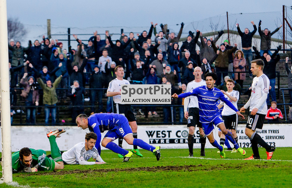Ayr United v Dunfermline Athletic SPFL League One Season 2015/16 Somerset Park 12 December 2015<br /> Michael Moffat heads in to make it 1-0<br /> CRAIG BROWN | sportPix.org.uk