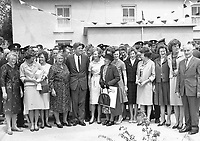 IND95259<br /> <br /> American President John Fitzgerald Kennedy (J.F.K)'s visit to Ireland, June 1963.<br /> Reception in Wexford.<br /> During his three-day visit to Ireland, US President John F Kennedy meets with his Irish cousins in the barnyard of their mutual forefather's homestead, at Dunganstown, June 27, 1963. <br /> Among those present were: Margaret Kirwan; Eunice Shriver and Jean Smith, the President's sisters; Josephine Ryan; Mary Ryan; JFK; Mary Anne Ryan; Margaret Whitty; and Joan Kirwan.<br /> (Part of the Independent Newspapers Ireland/NLI collection.)