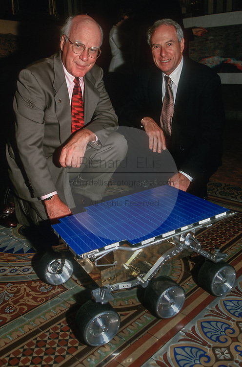 WASHINGTON, DC, USA - 1997/07/22: U.S. Senator Patrick Leahy, left, and NASA Administrator Daniel Goldin view a model of the Mars Pathfinder mission on Capitol Hill July 22, 1997 in Washington, DC.  (Photo by Richard Ellis)
