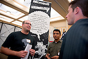 19082Fall Career Fair in Baker Center 10/08/08..Software Engineers from Microsoft Matt Yandek and Praburam Rambadran talk to Theodore Hollingsworth