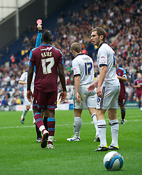 PRESTON, ENGLAND - Saturday, September 24, 2011: Preston North End's .Paul Parry walks off the pitch after being shown the red card during the Football League One match against Tranmere Rovers at Deepdale. (Pic by Dave Kendall/Propaganda)