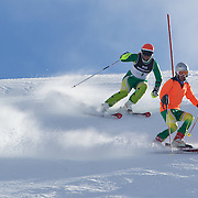 Melissa Perrine, Australia, (left) with her guide Andrew Bor, in action during the Women's Slalom Visually Impaired Adaptive Slalom competition at Coronet Peak, New Zealand during the Winter Games. Queenstown, New Zealand, 25th August 2011. Photo Tim Clayton