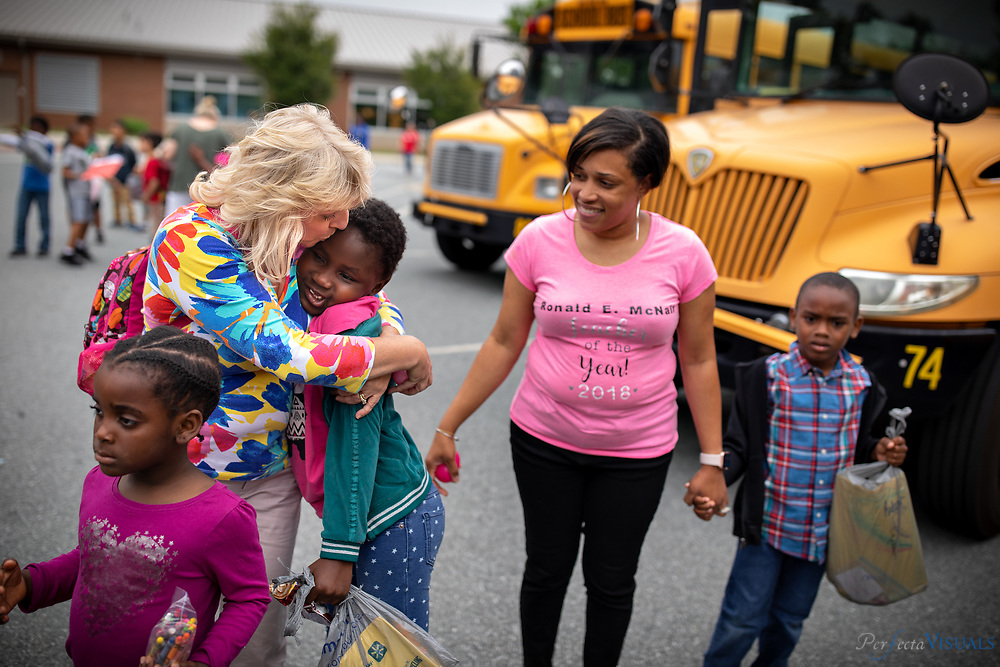 Last day of school at Ronald E. McNair Elementary School.<br /> <br /> Pam Huffman kisses her student Jeanette Salongo goodby for the summer.<br /> <br /> Photographed, Tuesday, June 12, 2018, in Greensboro, N.C. JERRY WOLFORD and SCOTT MUTHERSBAUGH / Perfecta Visuals