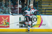 KELOWNA, CANADA - APRIL 25: Reid Gardiner #23 of the Kelowna Rockets exits the penalty box against the Seattle Thunderbirds on April 25, 2017 at Prospera Place in Kelowna, British Columbia, Canada.  (Photo by Marissa Baecker/Shoot the Breeze)  *** Local Caption ***