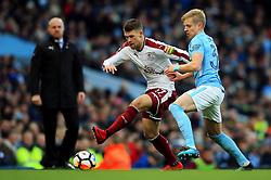 Johann Gudmundsson of Burnley takes on Oleksandr Zinchenko of Manchester City - Mandatory by-line: Matt McNulty/JMP - 06/01/2018 - FOOTBALL - Etihad Stadium - Manchester, England - Manchester City v Burnley - Emirates FA Cup Third Round