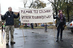 October 24, 2016 - Gdansk, Poland - Few houndreds people protested in Gdansk,  Poland on 24 October 2016, in front of pro-government trade union ' Solidarity ' (Solidarnosc) building in Gdansk against a legislative proposal for a total ban on abortion in Poland. Gdansk protest is part of the nationwide women protest called '' Women Strike '' with the umbrellas and black wear as a symbols. Solidarity trade union sued the participants of the protests in Poland for the use of the logo of Solidarnosc. (Credit Image: © Michal Fludra/NurPhoto via ZUMA Press)