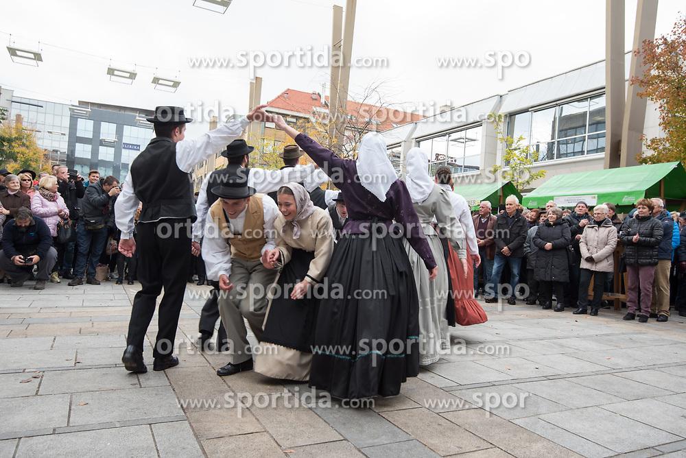"Members of Academic folklore dance group ""Student"" during during martinovanje, St. Martin's Day Celebration on November 11, 2019 in Maribor, Slovenia. Photo by Milos Vujinovic / Sportida"