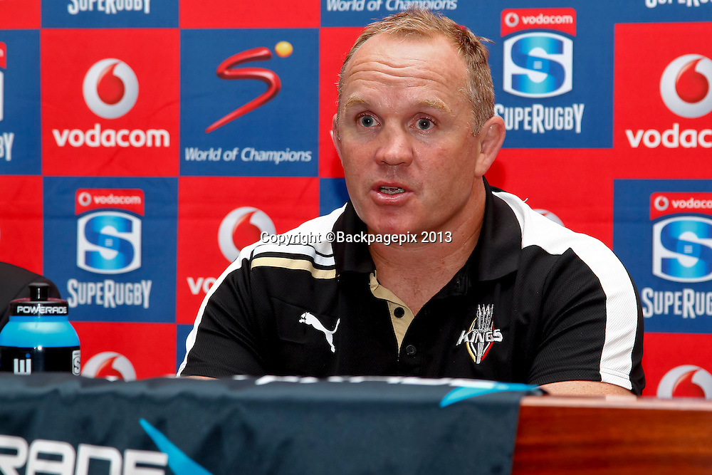 Matt Sexton, coach of the Southern kings during the match between Southern Kings and the Mr Blue Bulls on the 20 April 2013 at the Nelson Mandela Bay Stadium © Michael Sheehan