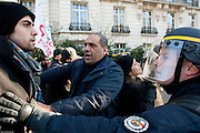 Anti and pro Bachar Al Assad demonstators clash before Russian Ambassy, Paris, France.