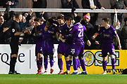 Goal - Mitch Rose (8) of Grimsby Town celebrates scoring a goal from the penalty spot to make the score 1-2 during the EFL Sky Bet League 2 match between Exeter City and Grimsby Town FC at St James' Park, Exeter, England on 29 December 2018.