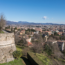 Lower Bergamo (Bergamo Bassa) seen from the old medieval city on a beautiful sunny day.