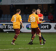 Motherwell&rsquo;s Craig Reid and Motherwell&rsquo;s Louis Moult appeal to ref John Beaston after he had awarded Dundee a late penalty - Dundee v Motherwell, Ladbrokes Premiership at Dens Park <br /> <br />  - &copy; David Young - www.davidyoungphoto.co.uk - email: davidyoungphoto@gmail.com