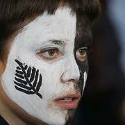 A young New Zealand fan with face paint during the New Zealand V Australia Tri-Nations, Bledisloe Cup match at Eden Park, Auckland. New Zealand. 6th August 2011. Photo Tim Clayton