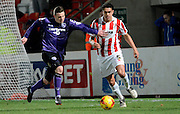 Troy Brown during the Sky Bet League 2 match between Cheltenham Town and Morecambe at Whaddon Road, Cheltenham, England on 16 January 2015. Photo by Alan Franklin.