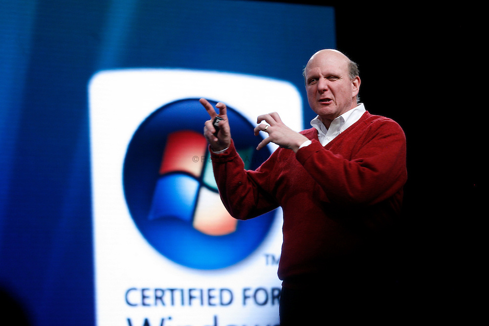 Microsoft CEO Steve Ballmer speaks during the launch of the Microsoft Windows Vista operating system in New York. The new Windows Vista will be available to consumers worldwide. Gates is an American entrepreneur of the world's largest software company. Forbes magazine's list of The World's Billionaires has ranked him as the richest person on earth for the last thirteen consecutive years, with a current net worth of approximately $53 billion.