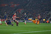 Football - 2018 / 2019 Premier League - Southampton vs. Fulham<br /> <br /> Southampton's James Ward-Prowse pounces on a Southampton's Charlie Austin rebound to score goal number two at St Mary's Stadium Southampton<br /> <br /> COLORSPORT/SHAUN BOGGUST