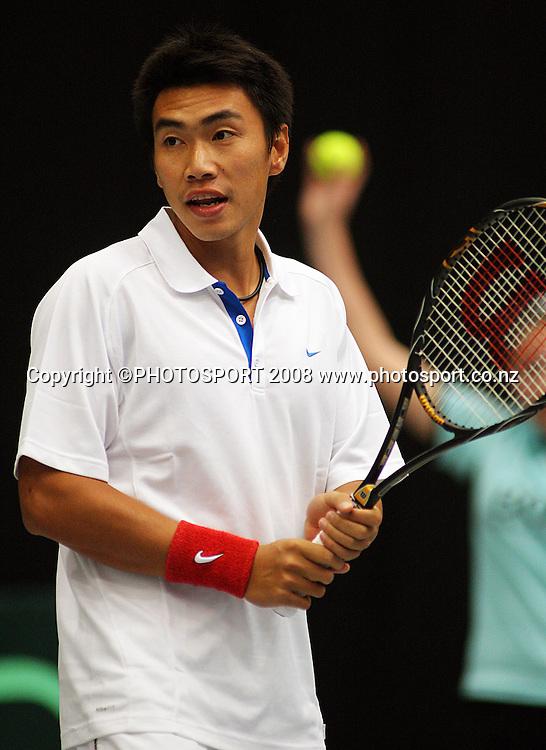 Shao-Xuan Zeng.<br /> Davis Cup Tennis - New Zealand v China at TSB Stadium, New Plymouth, New Zealand. Saturday, 20 September 2008. Photo: Dave Lintott/PHOTOSPORT