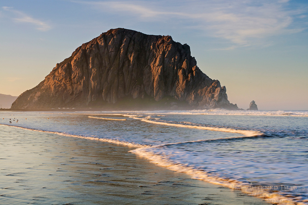Morro Rock at dawn, Morro Strand State Beach, Morro Bay, California