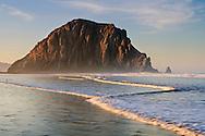 Morro Rock at dawn, Morro Strand State Beach, Morro Bay, California