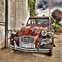 Retro Citroen 2CV transport in France with French number plate