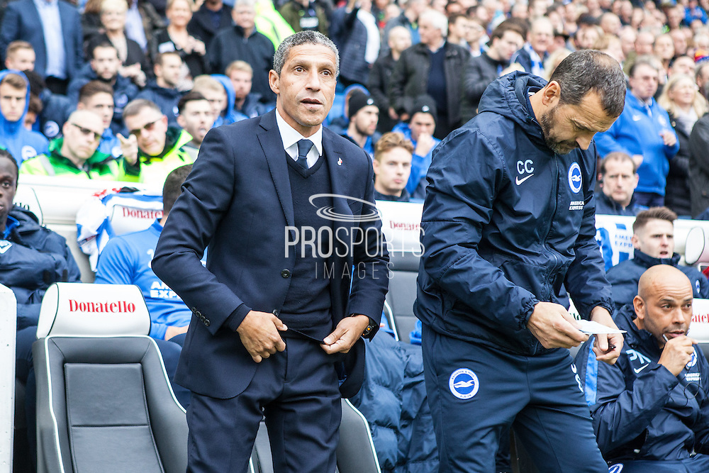 Brighton Manager Chris Hughton during the EFL Sky Bet Championship match between Brighton and Hove Albion and Norwich City at the American Express Community Stadium, Brighton and Hove, England on 29 October 2016. Photo by Bennett Dean.