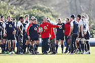 Picture by Andrew Tobin/Focus Images Ltd +44 7710 761829.08/02/2013.Stuart Lancaster ( C ) , Head Coach of England talks to the team during a Training at Pennyhill Park, Bagshot.