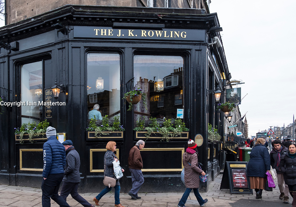 As part of literary art project by Val McDermid called Message from the Skies, the Conan Doyle Pub in Edinburgh has been renamed the JK Rowling. Scotland, United Kingdom