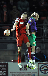 Bristol City's Aaron Wilbraham challenges for the header with Leyton Orient's Shane Lowry - Photo mandatory by-line: Dougie Allward/JMP - Mobile: 07966 386802 - 03/03/2015 - SPORT - football - Leyton - Brisbane Road - Leyton Orient v Bristol City - Sky Bet League One