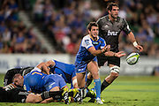 Alby Mathewson of the Western Force releases a pass during the Canterbury Crusaders v the Western Force Super Rugby Match. Nib Stadium, Perth, Western Australia, 8th April 2016. Copyright Image: Daniel Carson / www.photosport.nz