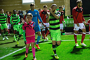 Forest Green Rovers Liam Noble(8) leads the team out during the EFL Sky Bet League 2 match between Forest Green Rovers and Swindon Town at the New Lawn, Forest Green, United Kingdom on 22 September 2017. Photo by Shane Healey.