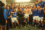 WE ARE STAYING UP.  Rochdale players and management celebrate avoiding relegation during the EFL Sky Bet League 1 match between Rochdale and Charlton Athletic at Spotland, Rochdale, England on 5 May 2018. Picture by Daniel Youngs.