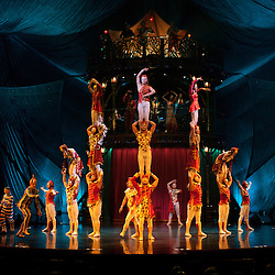 London, UK - 4 January 2012: The House Troupe perform during the Cirque Du Soleil Kooza dress rehearsal at the Royal Albert Hall. Since its premiere in April of ..2007, KOOZA has captivated close to four million spectators in North America and Japan.  London will be the first destination of the KOOZA European tour starting the ..5th of January. Written and directed by David Shiner, KOOZA is a return to the origins of Cirque du Soleil combining two circus traditions - acrobatic performance and ..the art of clowning.  KOOZA highlights the physical demands of human performance in all its splendor and fragility, presented in a colorful m&eacute;lange that emphasizes ..bold slapstick humor. This image can be quickly and easily purchased from some of the major international stock agencies:<br />