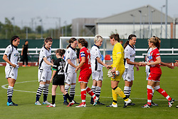 The teams meet before kickoff - Mandatory byline: Rogan Thomson/JMP - 09/07/2016 - FOOTBALL - Stoke Gifford Stadium - Bristol, England - Bristol City Women v Milwall Lionesses - FA Women's Super League 2.