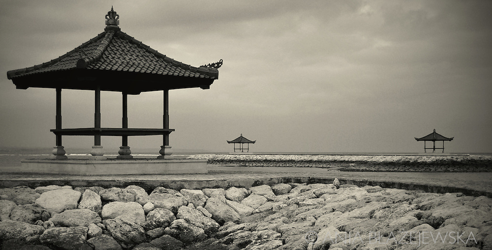 Indonesia, Bali. Buildings on the beach in Sanur.