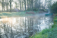 Mist over the river at dawn, reflections of trees