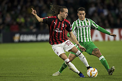 November 8, 2018 - Seville, Spain - DIEGO LAXALT of Milan (L) vies for the ball with CRISTIAN TELLO of Betis (R)  during the Europa League Group F soccer match between Real Betis and AC Milan at the Benito Villamarin Stadium (Credit Image: © Daniel Gonzalez Acuna/ZUMA Wire)