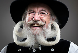 Wilfried Jezerny attends the fourth British Beard and Moustache Championships at the Empress Ballroom, Winter Gardens, Blackpool.