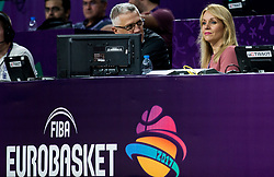 Peter Vilfan and Sanja Modric during basketball match between National Teams of Serbia and Hungary at Day 11 in Round of 16 of the FIBA EuroBasket 2017 at Sinan Erdem Dome in Istanbul, Turkey on September 10, 2017. Photo by Vid Ponikvar / Sportida