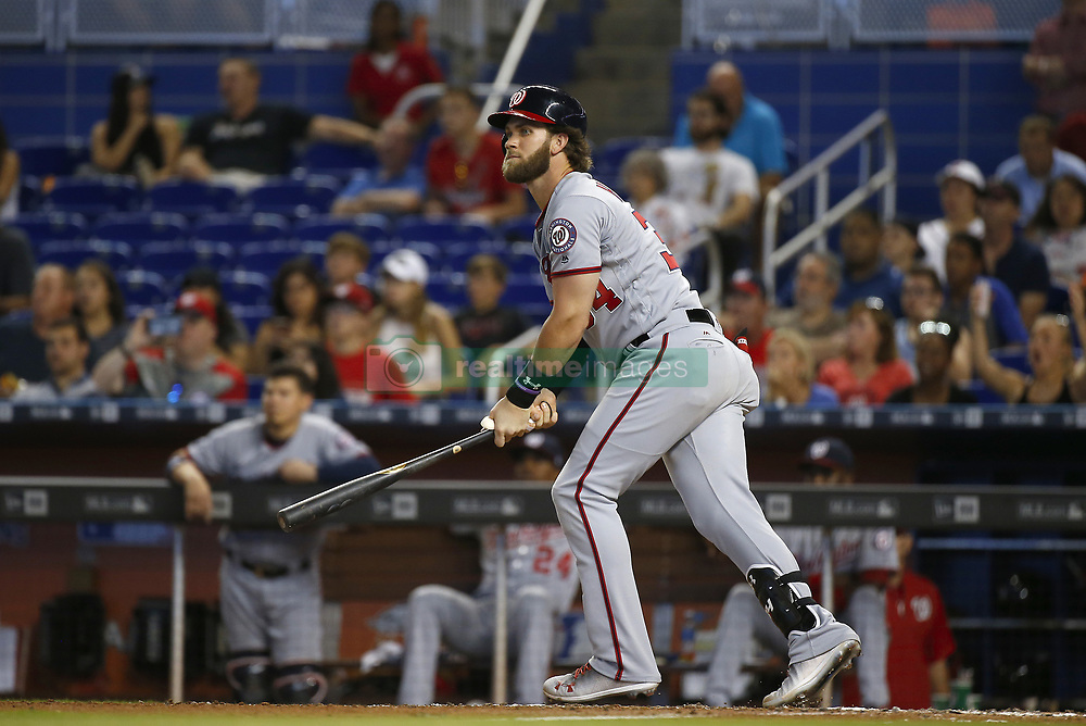 June 21, 2017 - Miami, FL, USA - Washington Nationals right fielder Bryce Harper lines out during the seventh inning against the Miami Marlins at Marlins on Wednesday, June 21, 2017 at Marlins Park in Miami, Fla. (Credit Image: © David Santiago/TNS via ZUMA Wire)