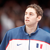 15 July 2012: Fabien Causeur of Team France warms up prior to a pre-Olympic exhibition game won 75-70 by Spain over France, at the Palais Omnisports de Paris Bercy, in Paris, France.