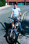 Russell Legard on His Motorbike, High Wycombe, UK, 1980s.