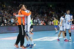 Team HC Prvo Plinarsko Drustvo Zagreb celebrates after  EHF Champions eague 2016/17 handball match between HC Prvo Plinarsko Drustvo Zagreb and RK Celje Pivovarna Lasko, on March 9th, 2017 in Arena Zagreb, Croatia. Photo by Martin Metelko / Sportida