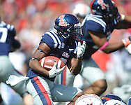 Ole Miss running back Jeff Scott (3) vs. Auburn at Vaught-Hemingway Stadium in Oxford, Miss. on Saturday, October 13, 2012. (AP Photo/Oxford Eagle, Bruce Newman)..