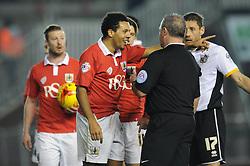 Bristol City's Korey Smith protests with the referee - Photo mandatory by-line: Dougie Allward/JMP - Mobile: 07966 386802 - 10/02/2015 - SPORT - Football - Bristol - Ashton Gate - Bristol City v Port Vale - Sky Bet League One