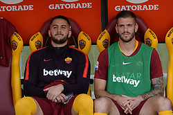 October 20, 2018 - Rome, Lazio, Italy - Kostas Manolas, Davide Santon during the Italian Serie A football match between A.S. Roma and Spal at the Olympic Stadium in Rome, on october 20, 2018. (Credit Image: © Silvia Lore/NurPhoto via ZUMA Press)