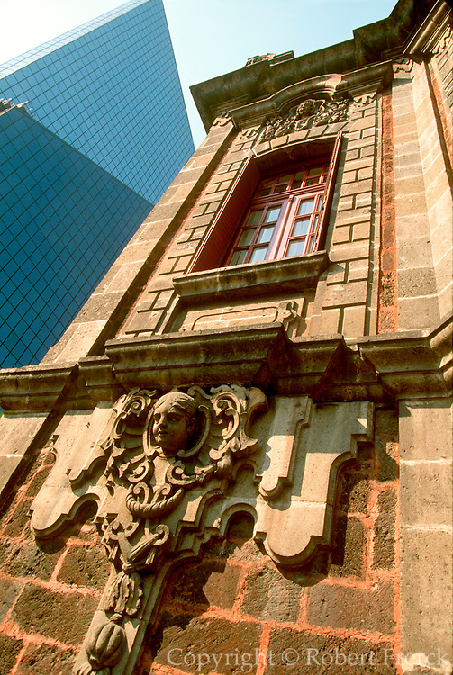 MEXICO, MEXICO CITY, CITYSCAPES colonial building with the new Bolsa (Stock Exchange) Building beyond on Paseo de la Reforma